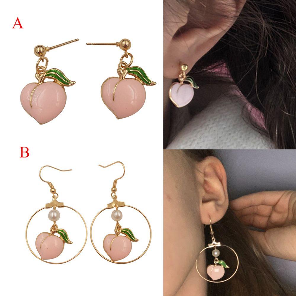 Fashion New Peach Stud Earrings For Women Contracted Joker Cute Girl Peach Female Stud Earrings Fine Jewelry DIY