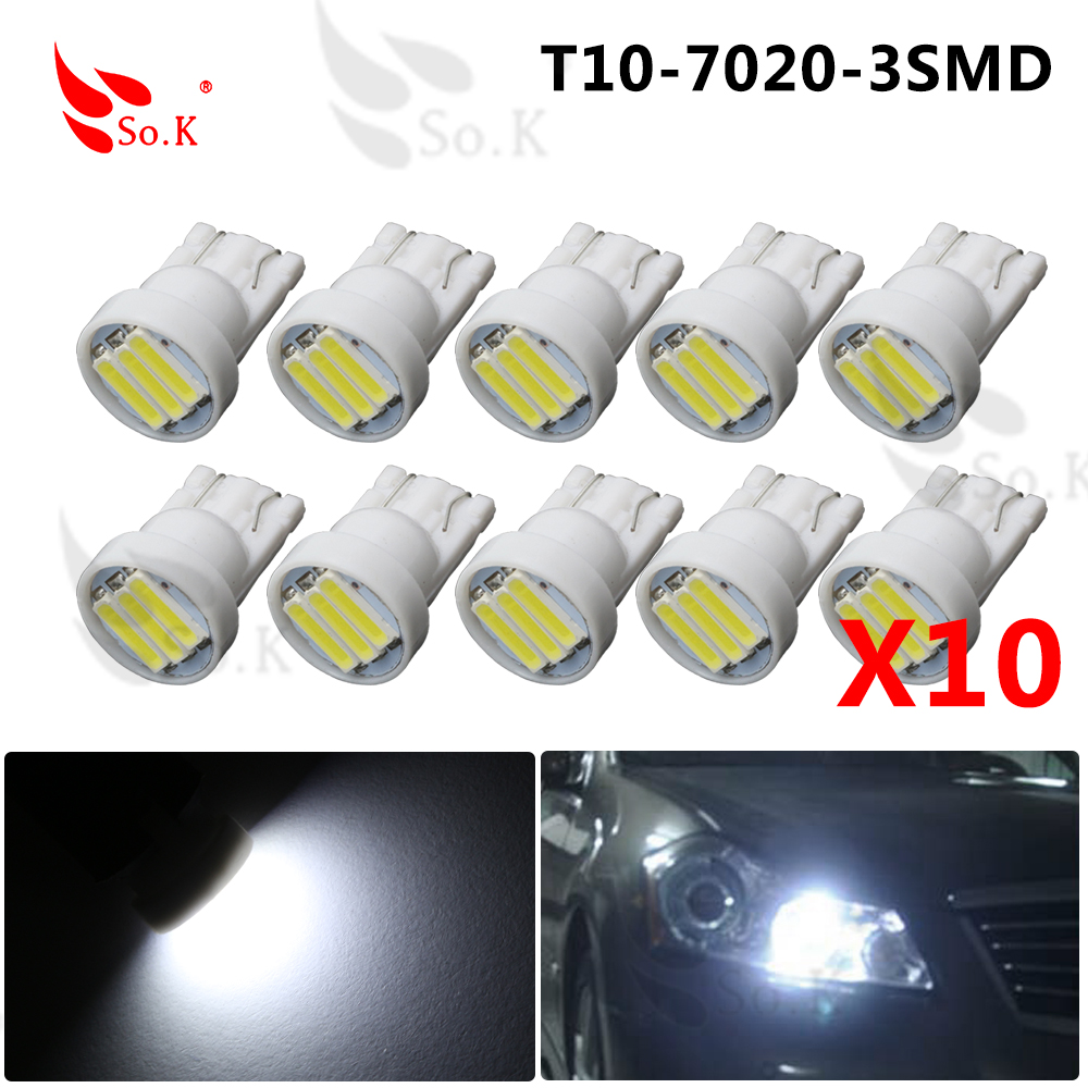 10Pcs High quality car led lamp 192 W5W 3smd T10 wedge 3 led SMD 7014 7020 white Interior Backup light bulbs 2x 4x 20x 50x 100x