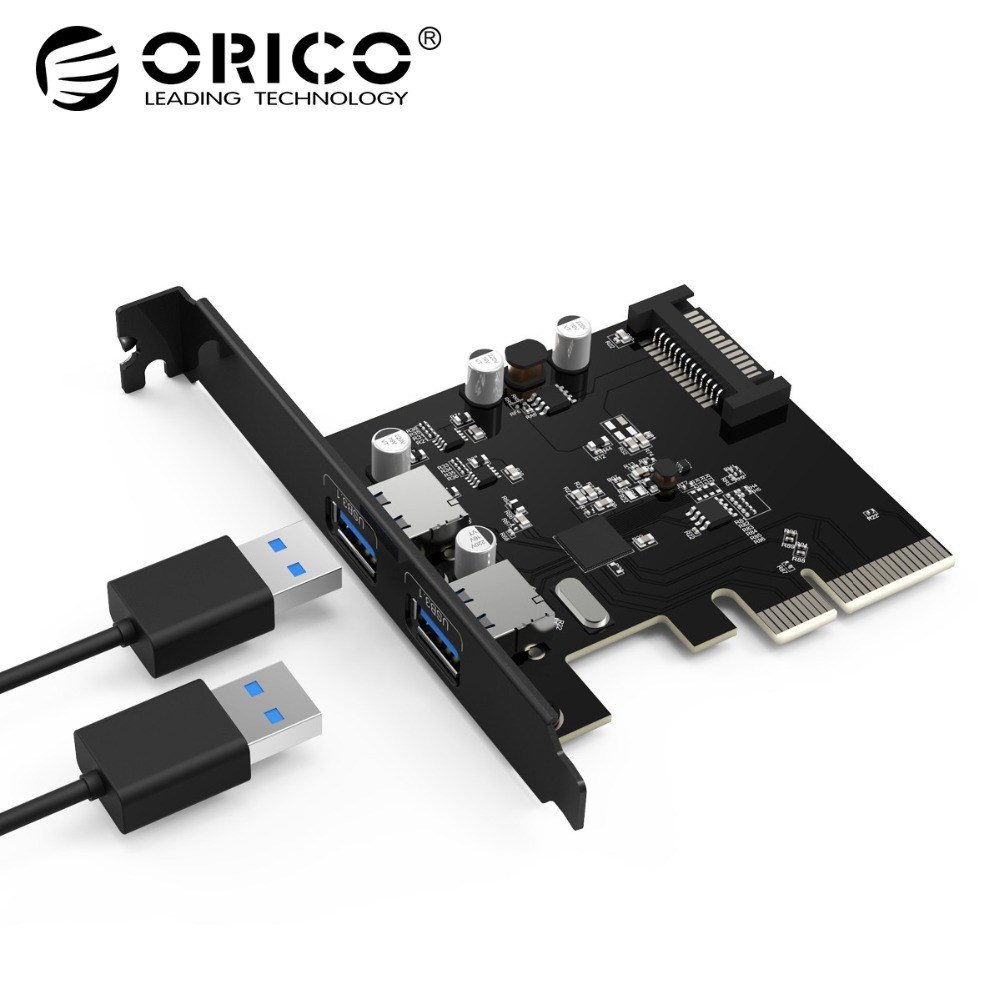 ORICO 2 Port USB3.1 PCI-E Adapter PCI Express Expansion Card 15-Pin Power Connector for Desktops PC orico pci post card express expansion card usb 3 0 pci e 2 port 15 pin sata to big 4 pin interface 5 gbps for computer component