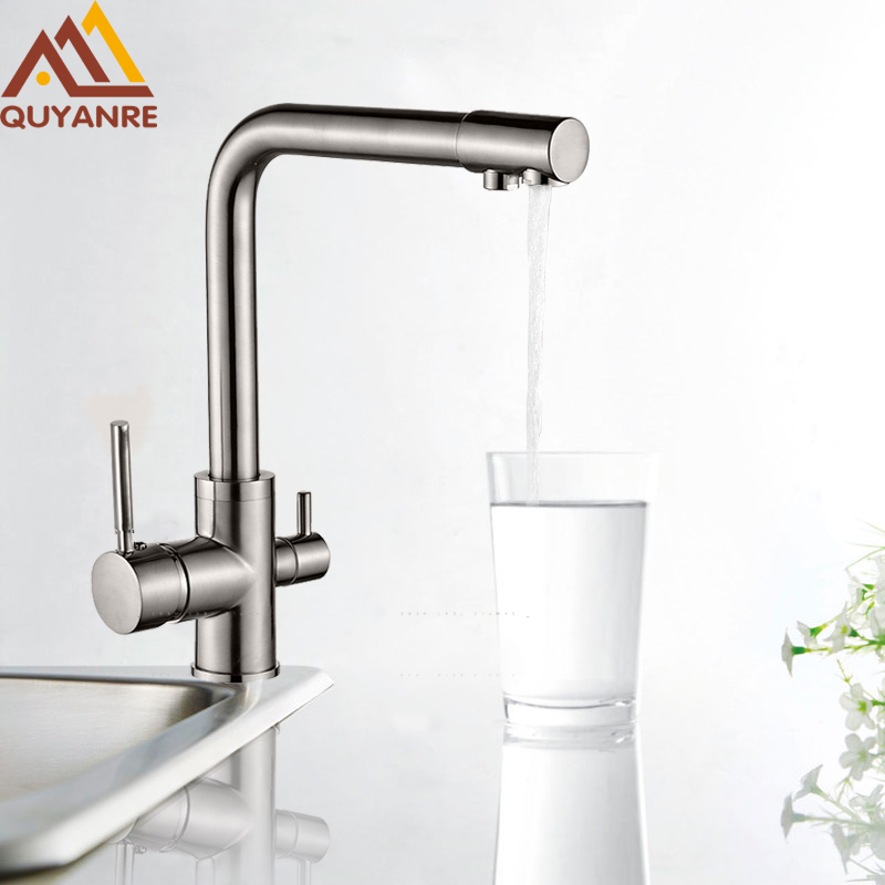 Quyanre water mixer kitchen sink faucet kitchen mixer tap torneira purified water faucet drinking tap mixer water filter faucet free shipping soild brass lead free kitchen faucet mixer drinking water filter tap with filtered purified water spout wholesale