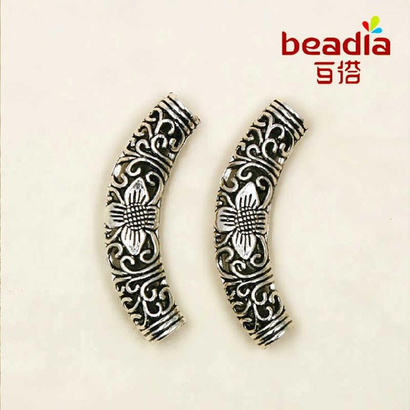 Hot Fashion 2 Pcs/lot Antik Berlapis Perak Beads12 * 55 Mm Tabung Melengkung Spacer Beads untuk Perhiasan Fashion