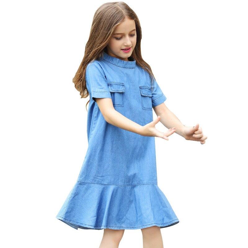 Filles adolescentes Robe En Denim À Manches Courtes Princesse Robes D'été Pour Enfants Nouveaux Enfants décontracté A-ligne Poche Jeans Robes pour 6-15Y