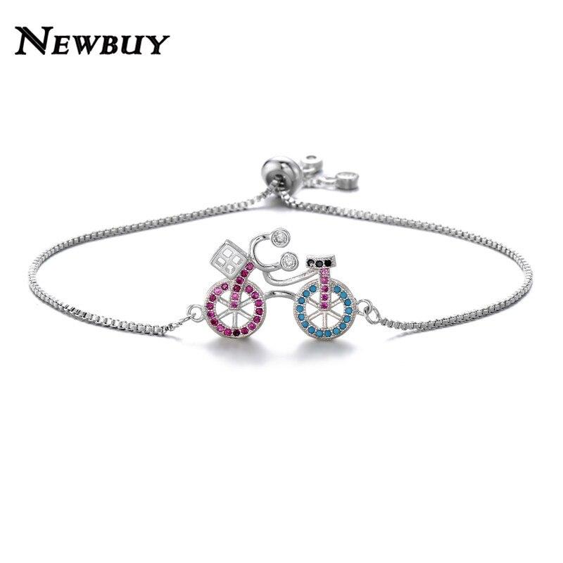 NEWBUY Trendy Colourful CZ Stone Bicycle Charm Bracelet Femme Fashion Silver Col