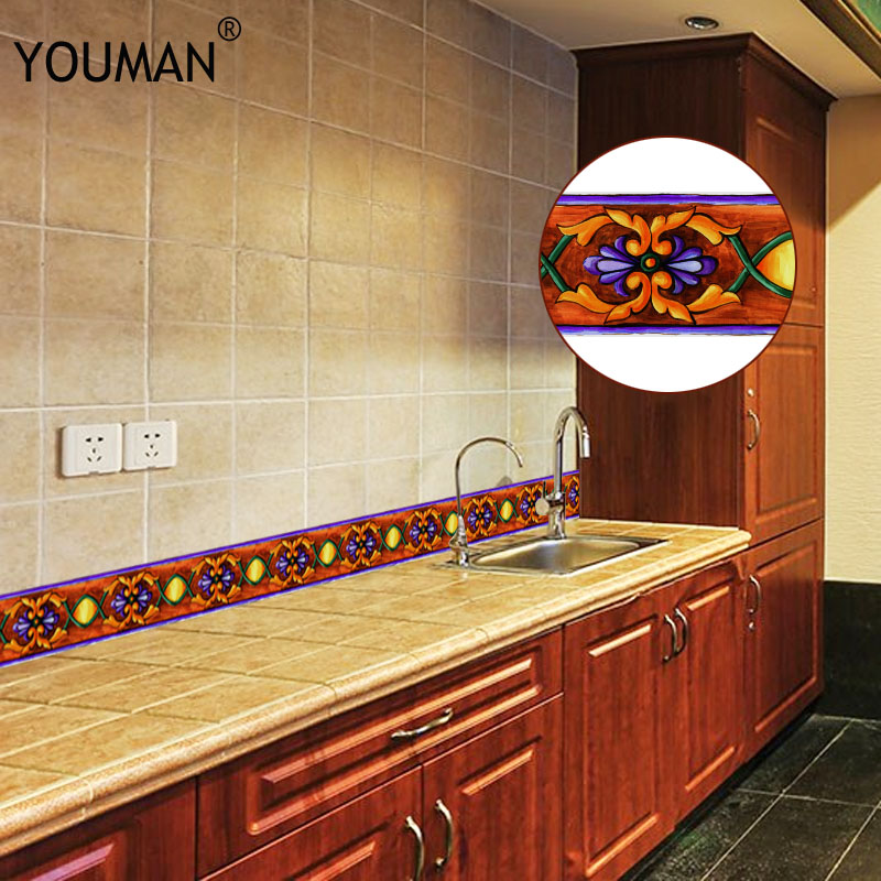 Image 2 - 10M 3D Wallpaper Border PVC Self adhesive Skirting Line Waterproof Sticker Removable Modern Tile Wall Sticker Kitchen Bathroom-in Wall Stickers from Home & Garden