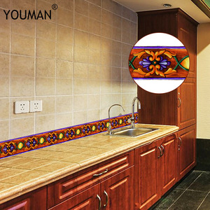 Image 2 - Papel tapiz 3D de 10M, borde de PVC, línea de rodapié autoadhesiva, pegatina impermeable, azulejo moderno extraíble, pegatina de pared para cocina y baño