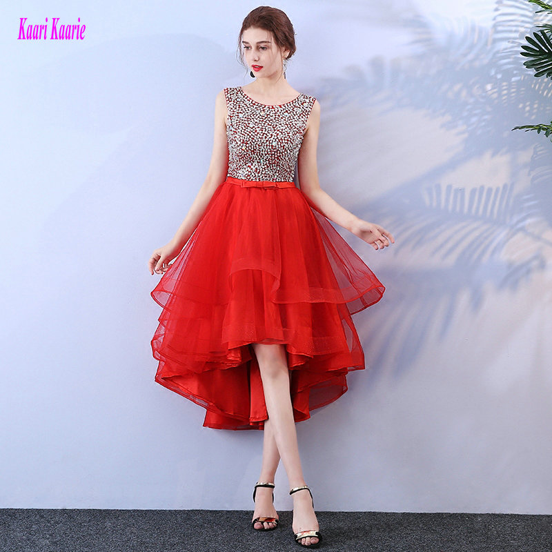Unique Red   Prom     Dresses   Short 2019 Sexy Party   Prom     Dress   Scoop Tulle Beading Kenn-Length A Line Casual   Prom   Gowns Fast delivery