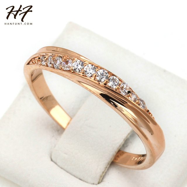 Classical Cubic Zirconia Lovers Ring Rose Gold Color Rhinestones Studded Wedding Rings Jewelry Jewellery For