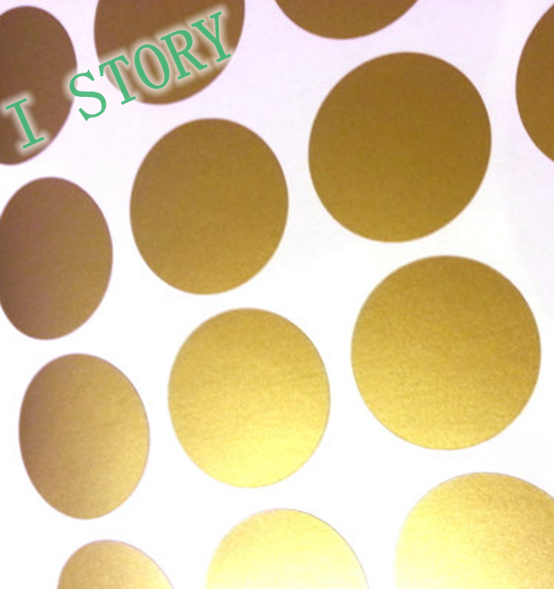 Polka Dot Wall Sticker Gold Wall Decal , Peel and Stick ...