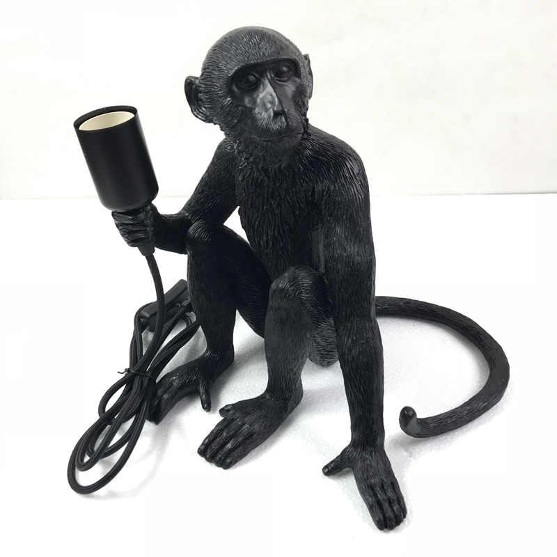 Современные смолы черный лампа в форме обезьяны Лофт стиль пеньковая веревка черный лампа в форме обезьяны люстры освещение подвесные потолочные светильники