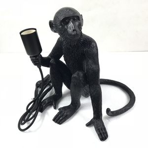 Image 4 - Moderne Harz Schwarz Affe Lampe Loft Stil Hanf Seil Schwarz Affe Lampe Kronleuchter Beleuchtung Anhänger Hängen Decke Leuchten