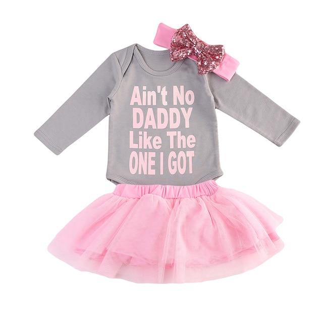 24e0ddaa783 Cute Princess Newborn Baby Girl Clothes Long Sleeve Cotton Romper Tops+Tutu  Skirt Headband 3PCS Outfit Kids Clothing Set 0-24M