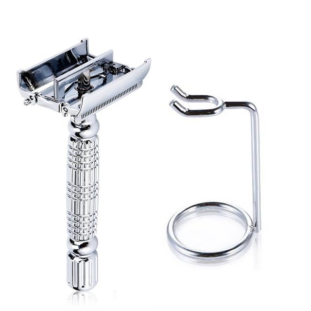 Dos homens Barbeador Double Edge Lâminas de Barbear lâminas de Barbear Manuais Torção Aberto 1 + 1 Lâmina de Barbear + 1 Titular de Barbear Barbeadores conjunto