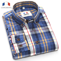 Langmeng New 2016 Fashion 100% Cotton Mens Plaid Shirts High Quality Long Sleeve Slim Fit Brand Designer Mens Casual Shirt