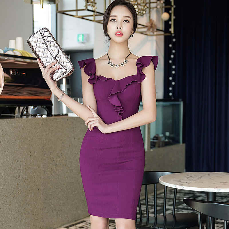 2c94803de9c4 Dabuwawa 2018 Purple Sexy Ruffles Sleeveless Dress Women Summer Sheath  Spaghetti strap fashion Dresses for Office