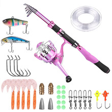Ladies Telescopic Fishing Rod and Reel Combos,Spinning Fishing Pole Pink Designed for Ladies Fishing Girls Fishing Pole sougayilang telescopic fishing rod with spinning reels combos fishing reel pole lure line bag sets kit for travel fishing tackle