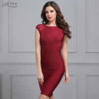 Winter Evening Party Bandage Dress Women 2017 New Black Wine Red O Neck Short Sleeve Mesh