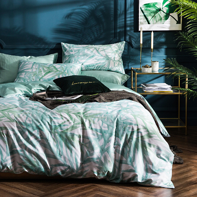 Svetanya Egytian Cotton Bedlinen Queen Double Size Bedsheet Pillowcases And  Quilt Cover Sets Bamboo Leaves Bedding