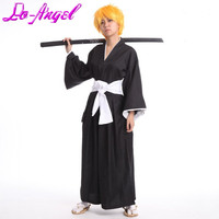 Free Shipping Japanese Anime BLEACH Kurosaki Ichigo Cosplay Shinigami Death Kimono Soul Reaper Halloween Party Costumes