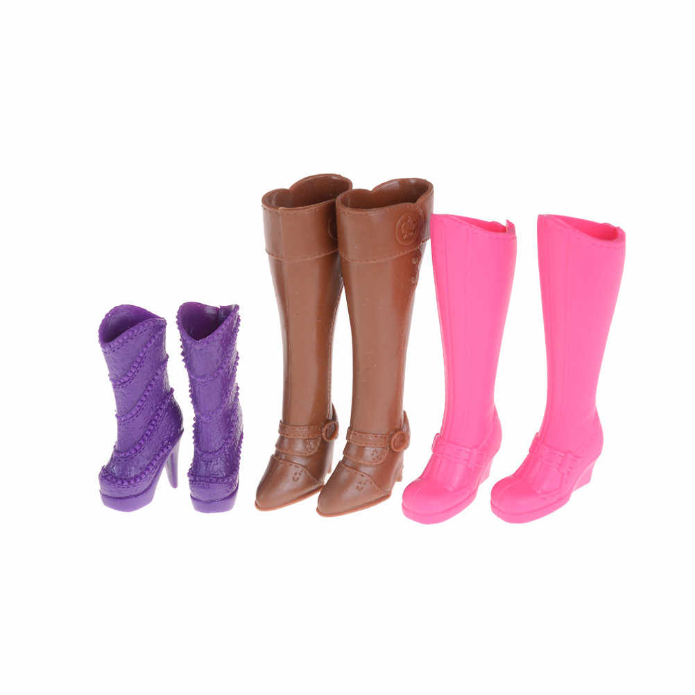 1 par de botas coloridas de moda surtidos de tacones altos casuales de barril largo lindo Zapatos Ropa para accesorios de muñecas Juguetes