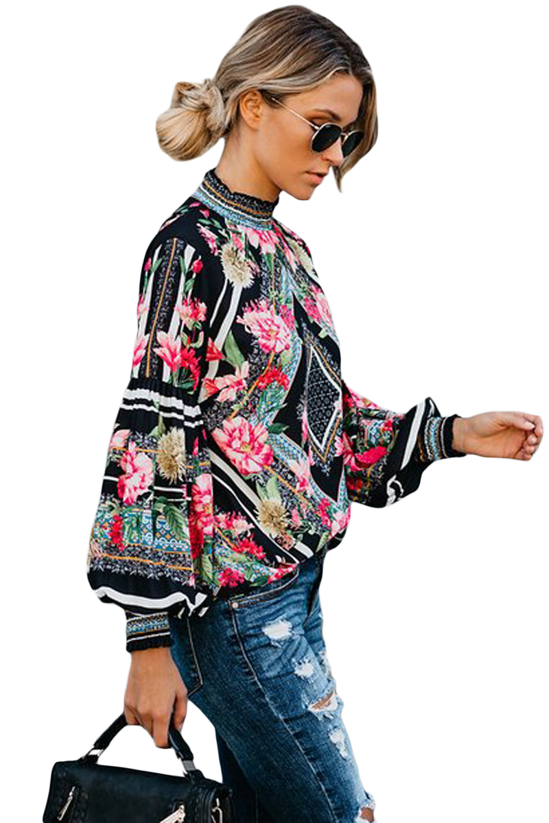 Black-Bohemian-Floral-Print-Smocked-Long-Sleeve-Blouse-LC251632-2-3