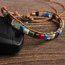 LanLi natural Jewelry 4x4mm square colored stone bracelet men and women Giving presents self use
