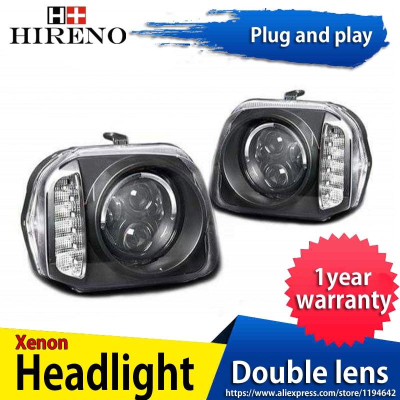 Hireno Headlamp For Suzuki Jimny Headlight Headlight Assembly LED DRL Angel Lens Double Beam HID Xenon 2pcs