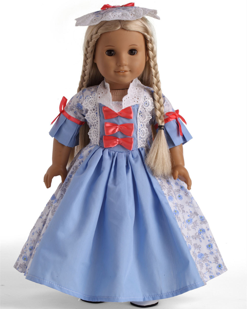 new 18 inch american girl doll outfits of antique doll dress in blue grey and light yellow color. Black Bedroom Furniture Sets. Home Design Ideas