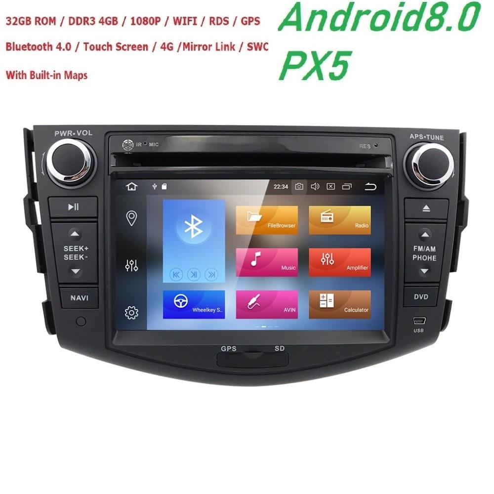 2Din ''Android 8.0 Lecteur DVD de Voiture Pour TOYOTA RAV4 2006 2007 2008 2009 2010 2011 Avec GPS Navigation BT Radio FM/AM RDS Cartes DVR