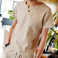 Linen Solid Color Short Sleeve T Shirt Vintage All-Match Leisure Mens T-Shirts Fashion Loose Summer Clothing