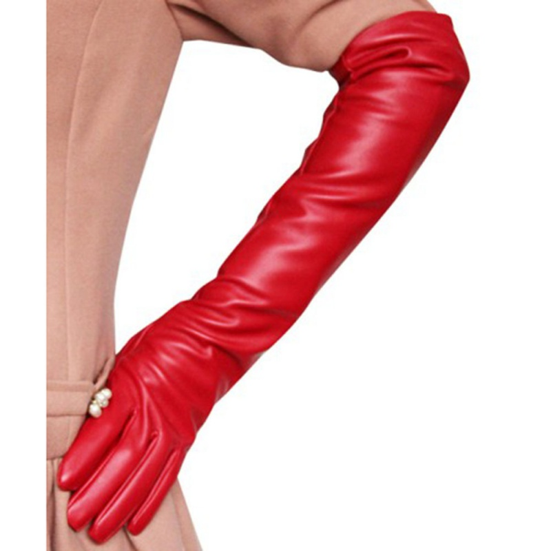 Opera Evening Party Gloves For Women Ladies Sexy Faux Leather PU Over Elbow Long Glove