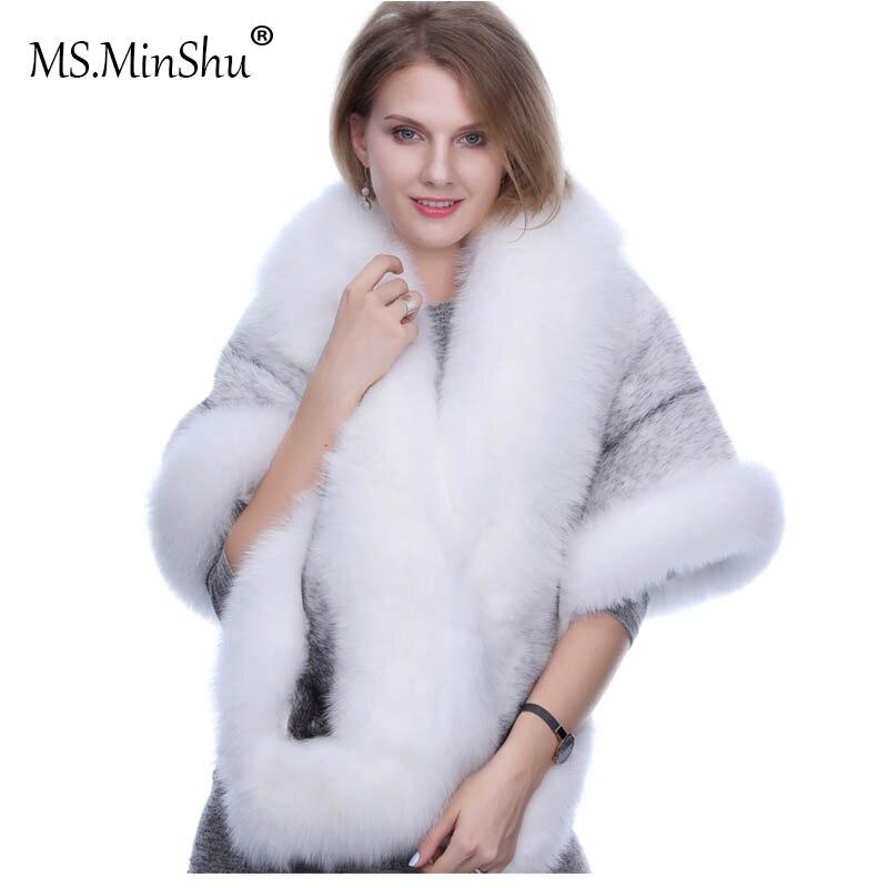 MS. MinShu норки шаль Fox меховая отделка зима Для женщин натуральным мехом модные пончо лисий мех Подрезанный плащ Зимний плащ женский