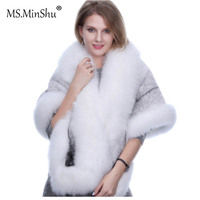 MS.MinShu Mink Fur Shawl Fox fur trim Winter Women Real Fur Fashion Poncho Fox Fur Trimmed Cape Winter Cape Female