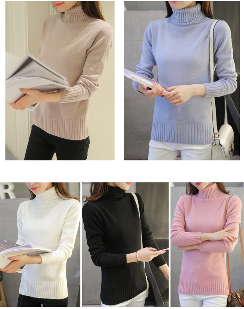 18 New Autumn winter Women Knitted Sweaters Pullovers Turtleneck Long Sleeve Solid Color Slim Elastic Short Sweater Women K861 3