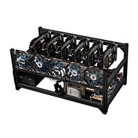 PC Computer Mining Case For 6 GPU Chassis Frame Support GTX 1080 ti 1070 1060 1050 P106 Graphics Video Card FAN 2 Power Supply