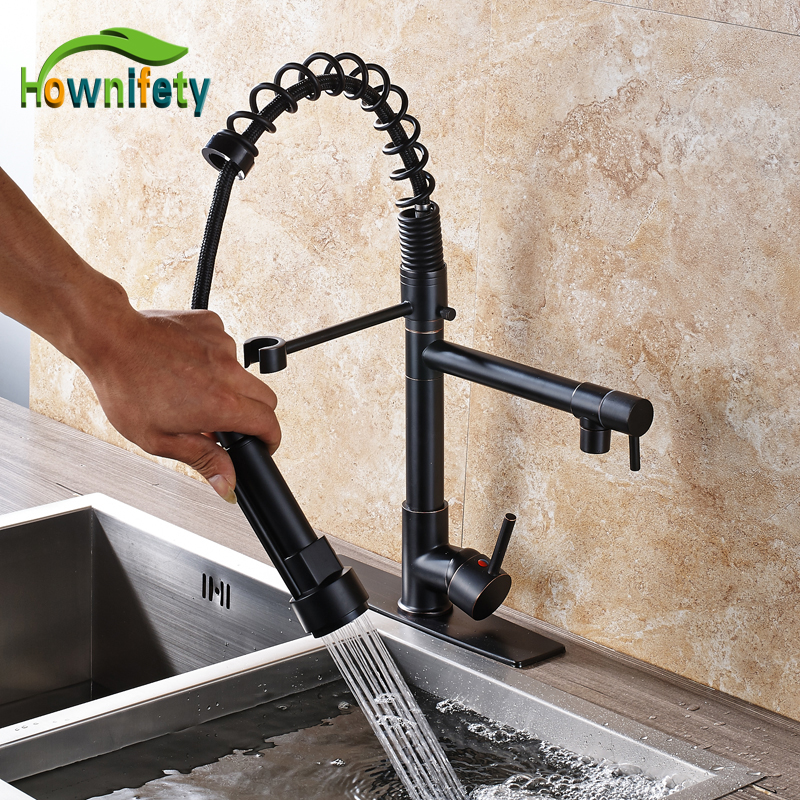 Oil Rubbed Bronze High Quality Solid Brass Kitchen Swivel Spout Faucet Hot & Cold Kitchen Mixer Tap with Cover Plate antique brass swivel spout dual cross handles kitchen