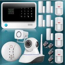 WiFi Seguridad para el hogar Sistema de Alarma GSM Sistema de Alarma de Seguridad GSM APP Control + Cámara IP wifi App Integral del Fuego Humo alarma