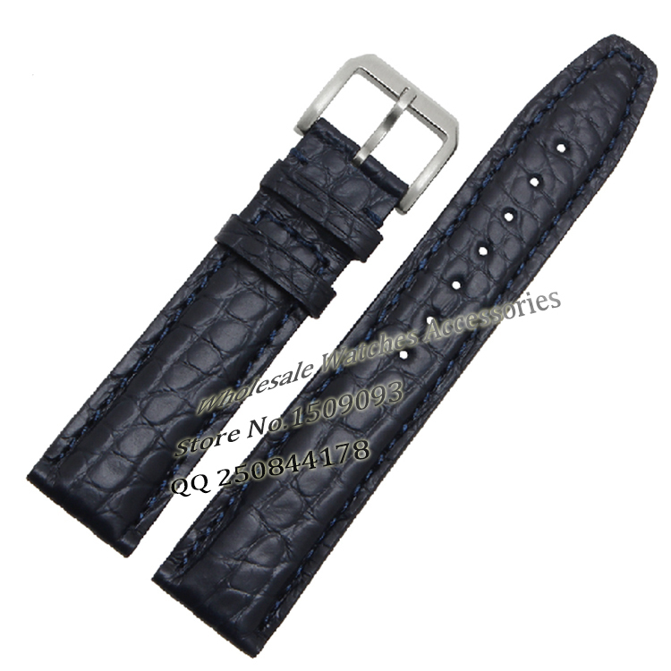 20mm 21mm 22mm Size Available 1pcs Sea Blue Genuine Alligator Leather Watch Strap Band High Brushed Stainless Steel Clasp Buckle