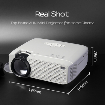 AUN LED Mini Projector D40W,Video Beamer for Home Cinema.1600 Lumens, Support HD, Wireless Sync Display For iPhone/Android Phone 5