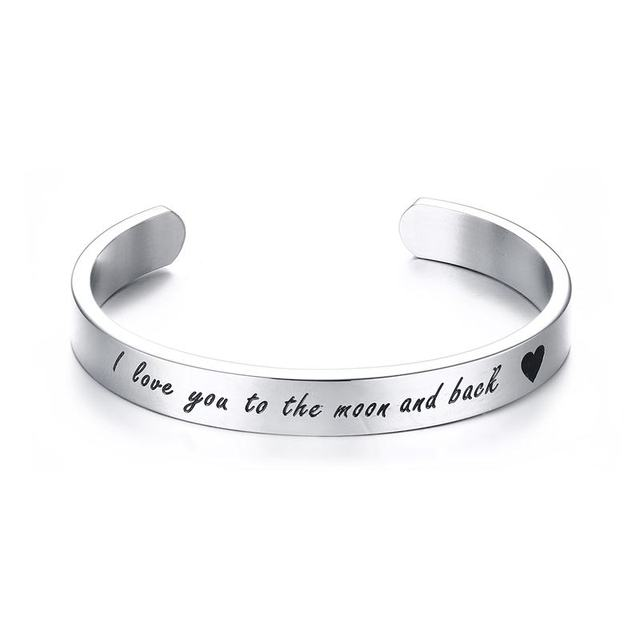 Mprainbow Mens Bracelets Stainless Steel Wrist Band Cuff Bracelet I Love You To The Moon