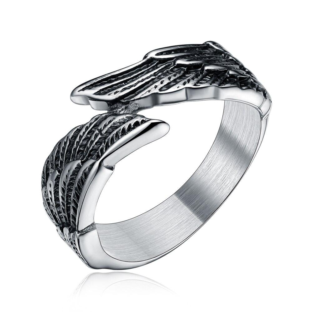 Tigrade moda asa estilo preto anel de aço inoxidável para festa unissex anel gótico tamanho 6-14 festa jóias anéis punk original