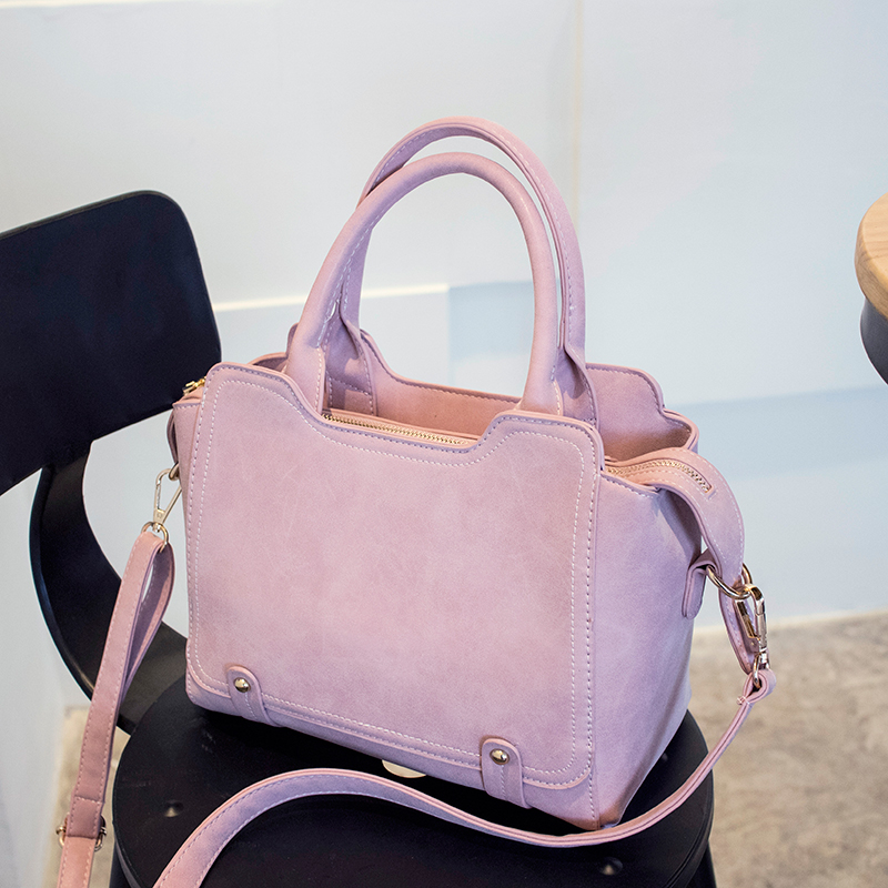 New Pink Color Top-Handle Bags Hot Sale Chic Nubuck Leather Female Handbag Candy Color Women Shoulder Bag Rivet Messenger Bags