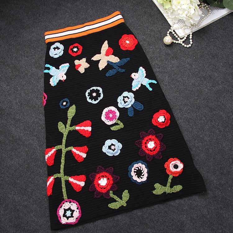 SexeMara Women's Skirt Autumn & Winter Knitted Pencil Skirt High Waist Floral Embroidery Midi Skirt Faldas Mujer Moda 2018