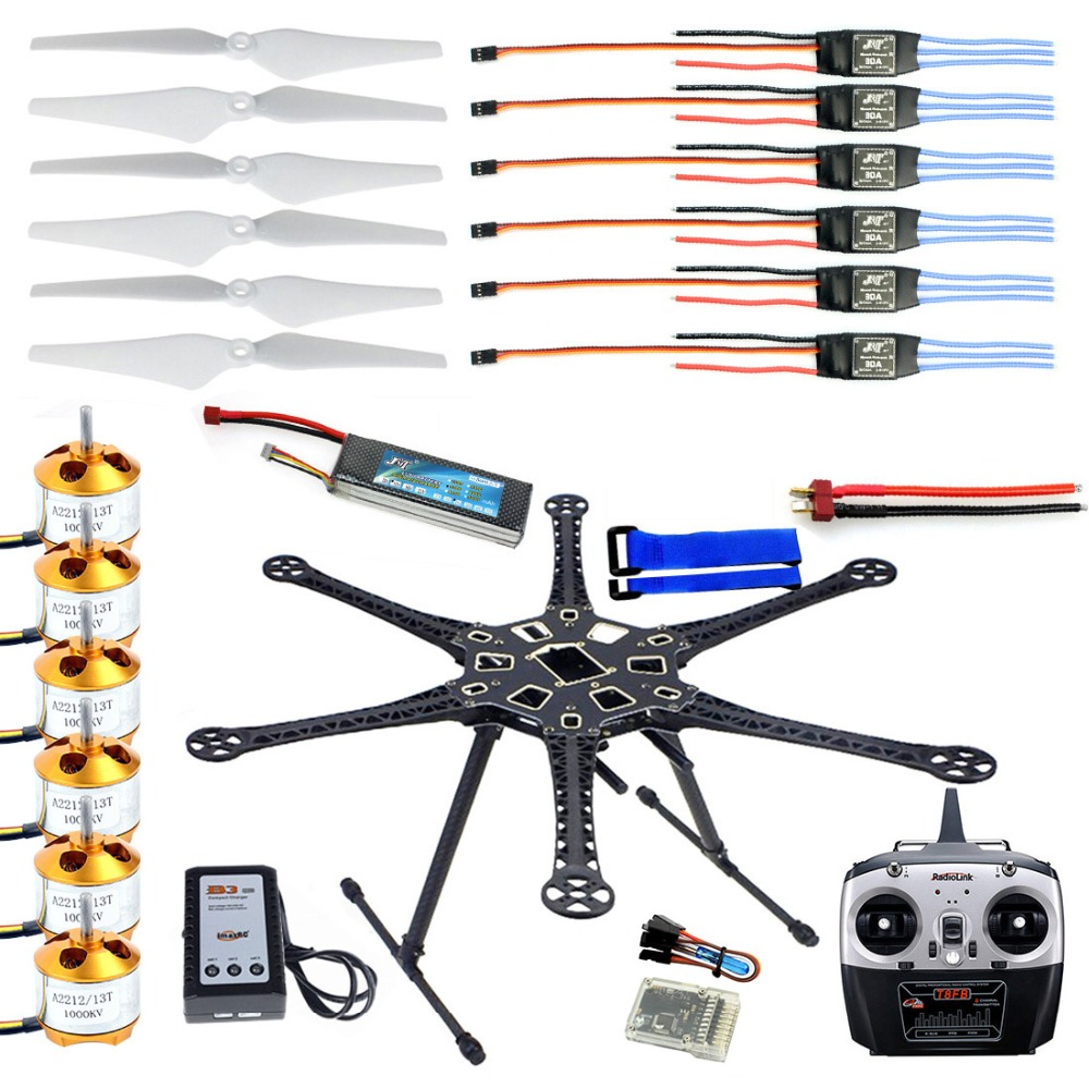 HMF S550 F550 Hexacopter 6 As Frame Kit met Landingsgestel + ESC Motor Gelast + QQ SUPER Controle board + 8CH RX & TX + Propellers
