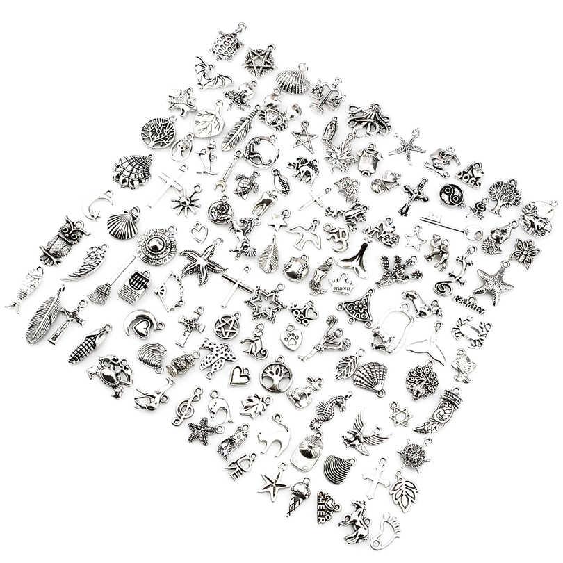 120 cái/lốc Hỗn Hợp Màu Bạc Cổ Châu Âu Vòng Đeo Tay Quyến Rũ Mặt Dây Chuyền Thời Trang Đồ Trang Sức Làm Phát Hiện DIY Charms Handmade