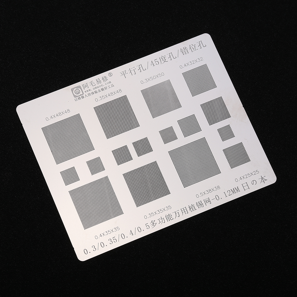 Multi Function BGA Stencil 0.3/0.35/0.4/0.5/Parallel/45 Degree Hole Universal Solder Template BGA Reballing Stencil