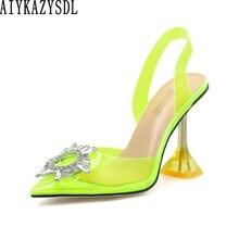 AIYKAZYSDL נשים הבוהן מחודדת סנדלי ניאון צהוב ירוק עקב פתוח משאבות ברור שקוף עקבים גבוהים קריסטל ריינסטון נעלי 41