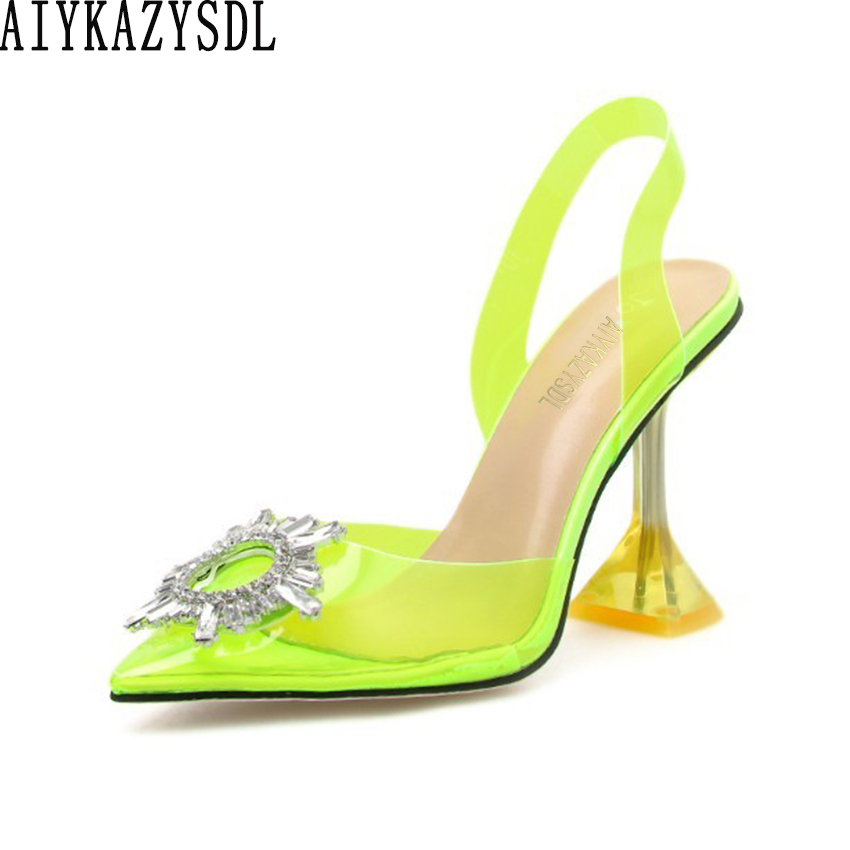 AIYKAZYSDL Women Pointed Toe Sandals Neon Yellow Green Slingback Pumps Clear Transparent High Heels Crystal Rhinestone Shoes 41