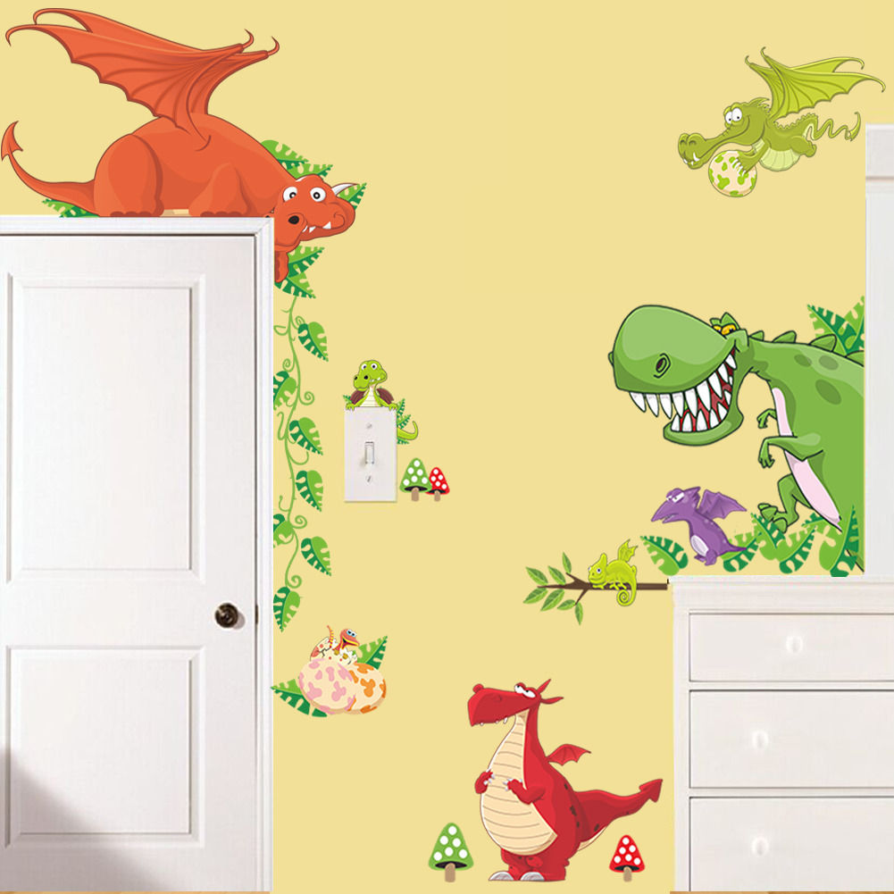 Dinosaur Dragon Wall Sticker Vinyl Decals Kids Nursery Room Animals ...
