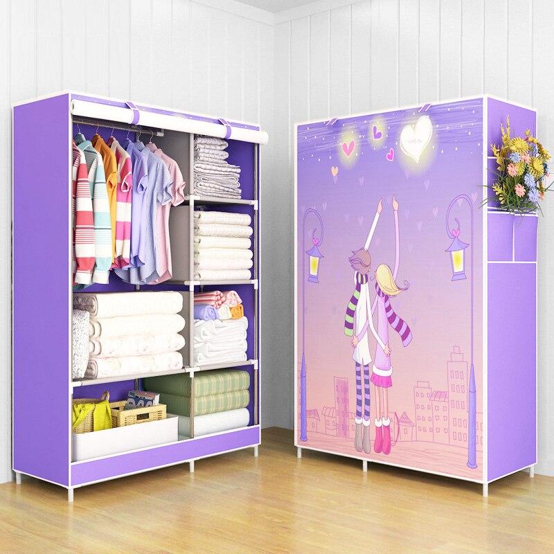 Wardrobe Non-woven Fabric Steel frame reinforcement Standing Storage Organizer Detachable Clothing Closet Home Decoration