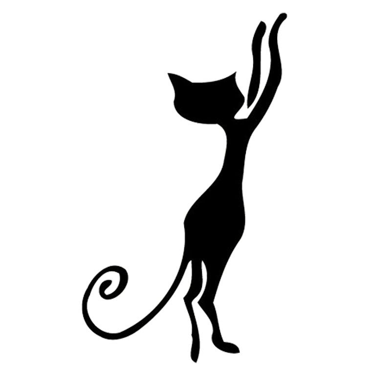 5.9*10.2CM Cute Pussy Bumper Car Sticker Vinyl Lovely Art Cat Car Windows  Decorative Black/Silver